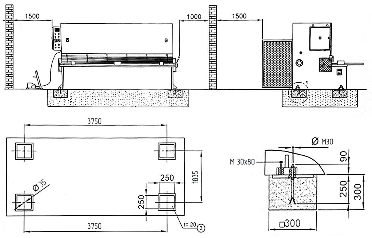 Схема установки на фундамент гильотинных гидравлических  ножниц НГ3320.25