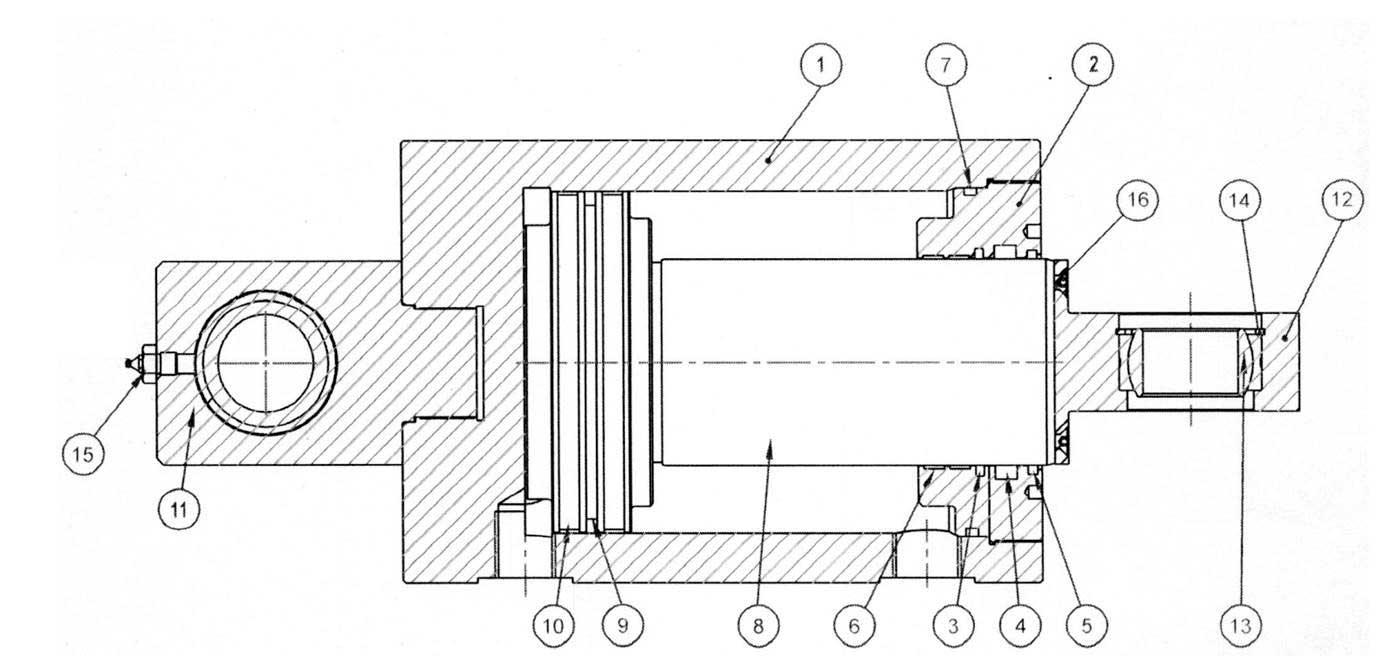 Гидроцилиндр гильотинныхm ножниц НГ3321.25