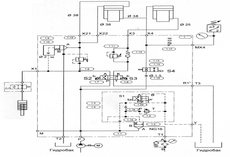 Гидравлическая схема гильотинных ножниц НГ3321.25