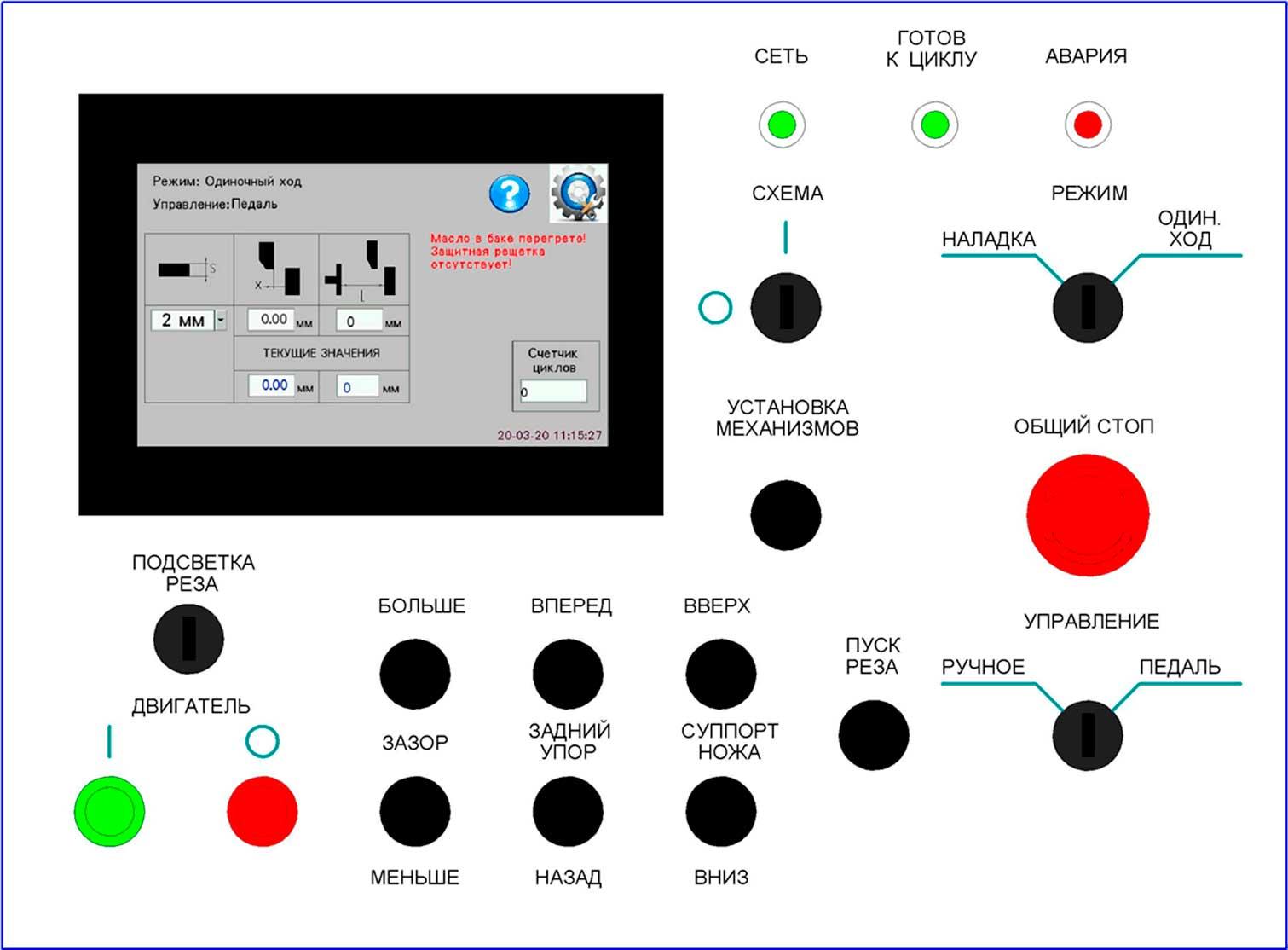 Панель пульта управления ножниц  гидравлических гильотинных НГ3321.25
