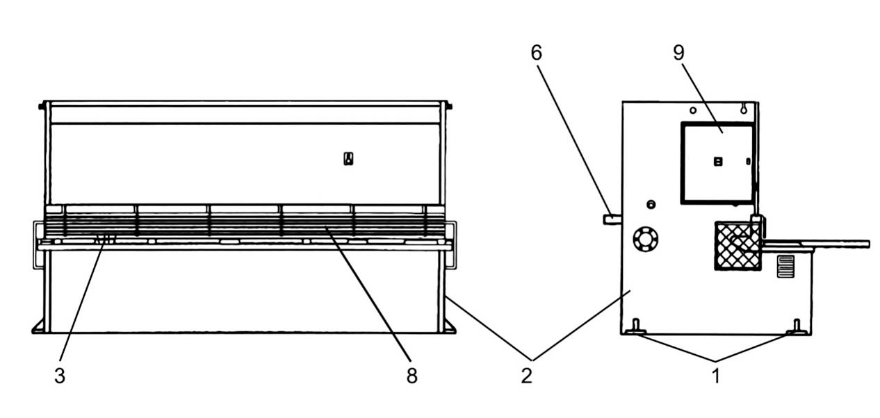 Общий вид  гидравлических гильотинных ножниц НГ3322.25 с обозначением   составных частей