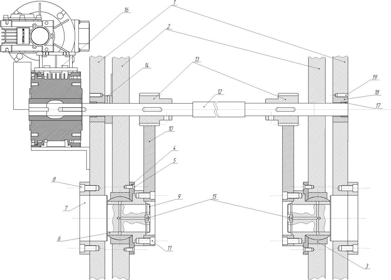 Механизм регулировки зазора гильотинных ножниц НГ3322.25