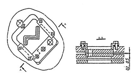 Схема крепления ножевых плит сортовой секции пресс-ножниц  НВ5223