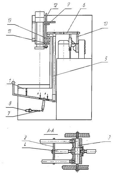 Схема рычажного управления прессом П6326Б