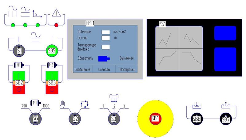 Панель пульта пресса ПБ7730 для обжима буртов бандажей усилием 1000 кН