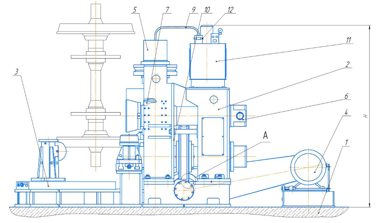 Расположение составных частей пресса гидравлического ПБ7730 для обжима буртов бандажей усилием 1000 кН