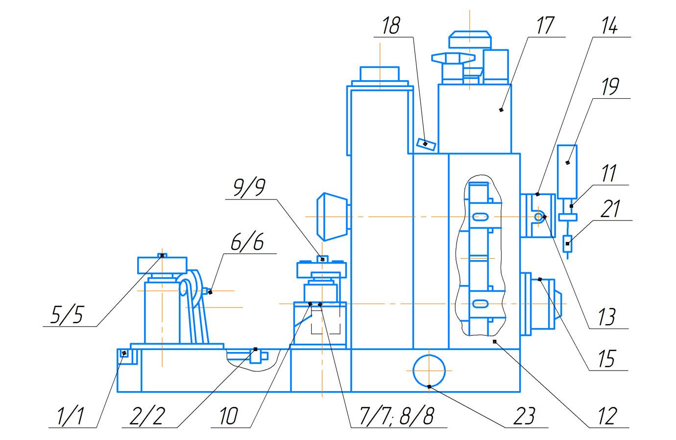 Схема расположения точек смазки пресса гидравлического ПБ7730 для обжима буртов бандажей усилием 1000 кН