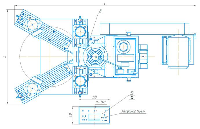 Расположение составных частей пресса ПБ7730