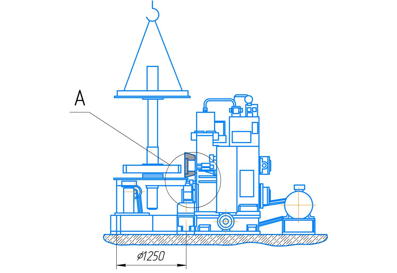 Габарит рабочего пространства и эскиз крепления инструмента пресса гидравлического ПБ7730 для обжима буртов бандажей усилием 1000 кН