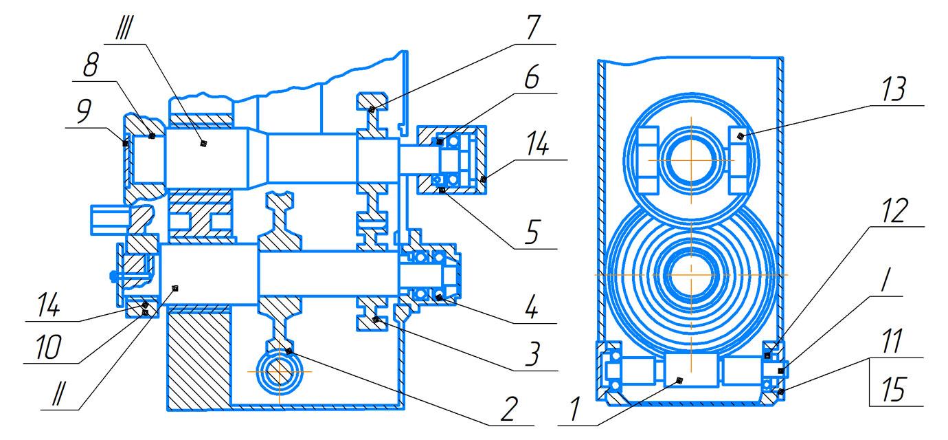 Редуктор пресса гидравлического ПБ7730 для обжима буртов бандажей усилием 1000 кН