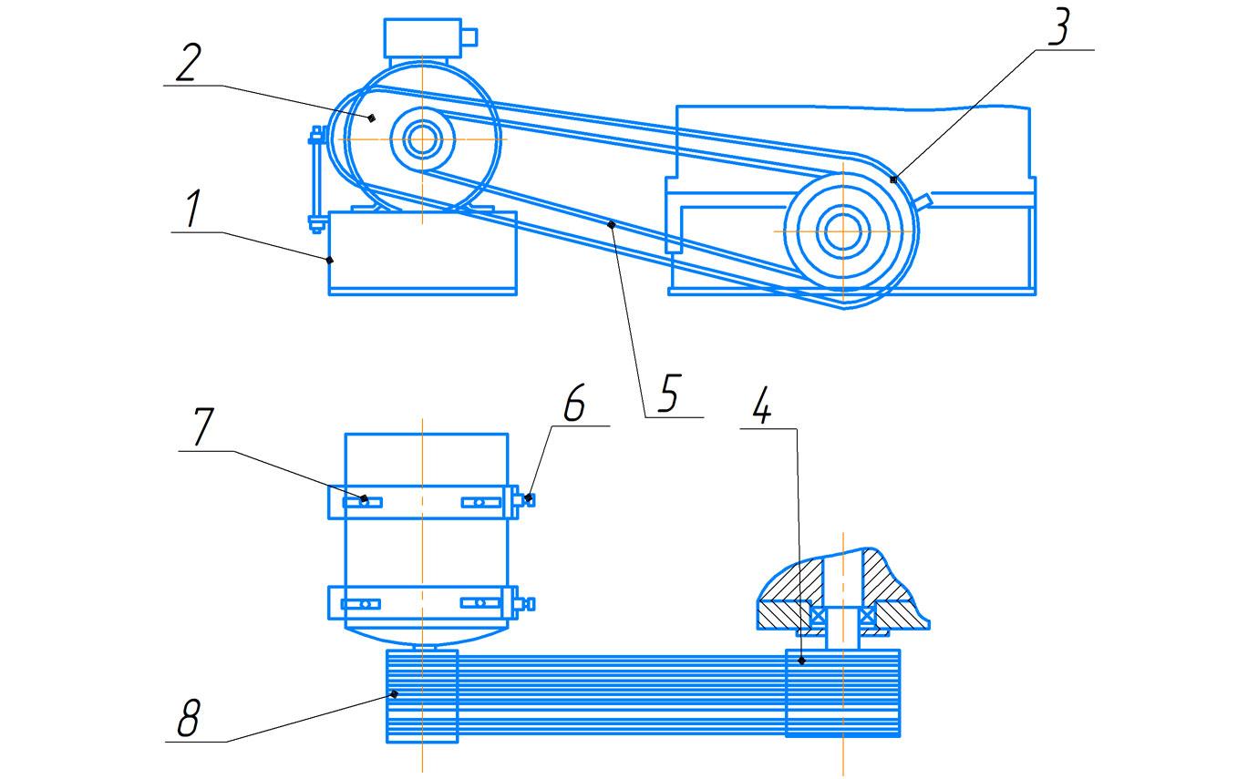 Привод пресса ПБ7730 для обжима буртов бандажей усилием 1000 кН