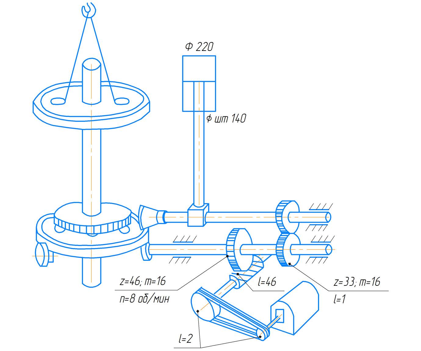 Кинематическая схема редуктора пресса  ПБ7730 для обжима буртов и бандажей усилием 1000 кН